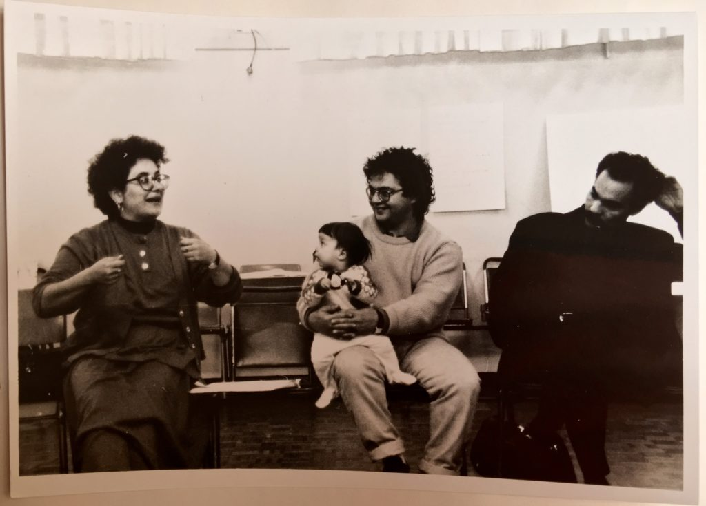 Auburn, 1991 - at a community advisory group meeting for Death Defying Theatre's 'Cafe Hakawati' (L-R) Alissar Chidiac, Ghassan Hage (with one year old Aliya May Hage) and Assad Abdi